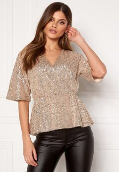 VILA Lyc S/S Top Frosted Almond Bubbleroom.no