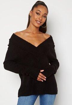 VILA Madelia V-Neck L/S Knit Top Black Bubbleroom.no