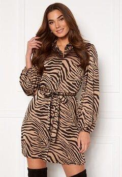 VILA Malas L/S Shirt Dress Dusty Camel W Zebra Bubbleroom.no
