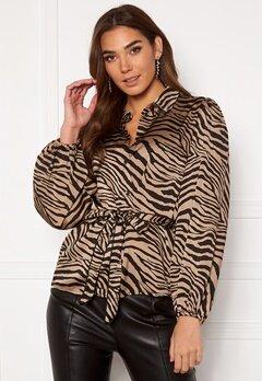 VILA Malas L/S Shirt Dusty Camel W Zebra Bubbleroom.no