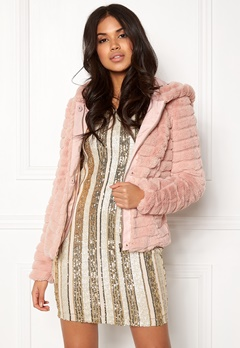 VILA Maya Faux Fur Jacket Peach Whip Bubbleroom.no