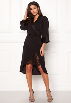 VILA Milena Lace 3/4 Dress Black Bubbleroom.no