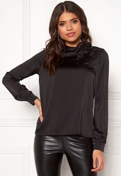 VILA Milena L/S Top Black Bubbleroom.no