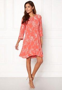 VILA Mimira 3/4 Sleeve Dress Spiced Coral Bubbleroom.no