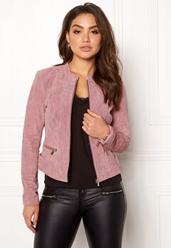 VILA Miss Suede Jacket Ash Rose Bubbleroom.no