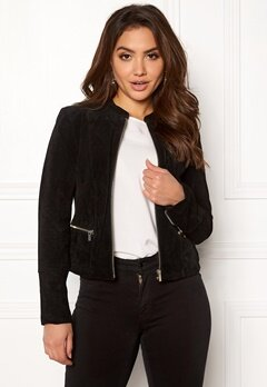 VILA Miss Suede Jacket Black Bubbleroom.no