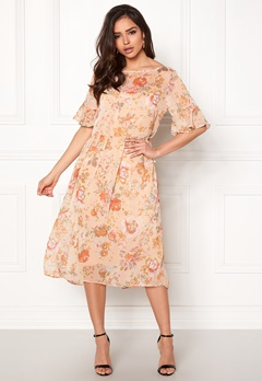 VILA Mouna S/S Medi Dress Peach Blush Bubbleroom.no