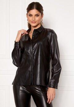VILA Nalia Coated L/S Shirt Black Bubbleroom.no