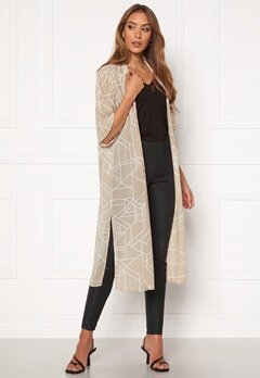 VILA Nema 3/4 Aop Cover Up Simply Taupe Aop Bubbleroom.no