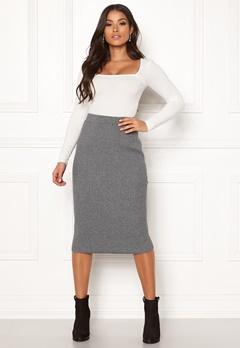 VILA Oliv Knit Pencil Skirt Medium Grey Melange Bubbleroom.no