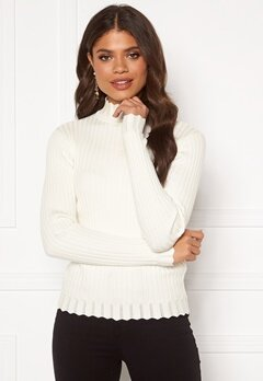 VILA Olivi Knit Funnel Neck L/S Top Whisper White Bubbleroom.no