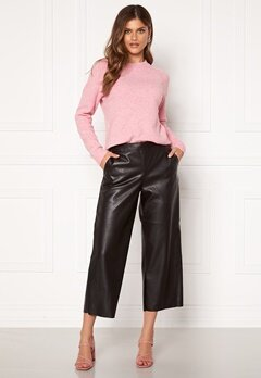 VILA Pen RWRX Cropped Coated Pants Black Bubbleroom.no