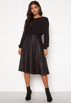 VILA Pines Snakey Midi Skirt Black Bubbleroom.no