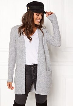 VILA Place Knit Cardigan Light grey melert Bubbleroom.no