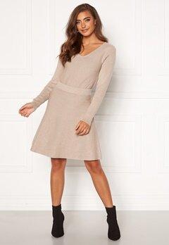 VILA Plisana Knit HW Skirt Natural Melange Bubbleroom.no