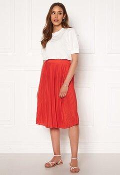 VILA Pliss Midi Skirt Flame Scarlet Bubbleroom.no