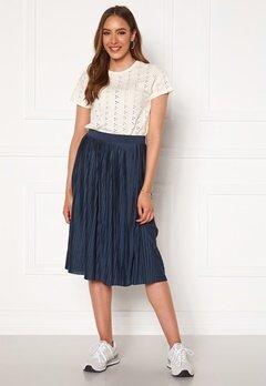 VILA Pliss Midi Skirt Navy Blazer Bubbleroom.no