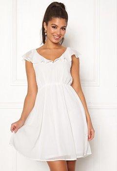 VILA Rannsil S/L Short Dress Cloud Dancer Bubbleroom.no