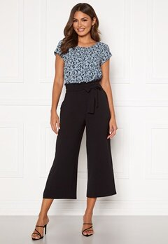 VILA Rasha HW Cropped Wide Pant Black Bubbleroom.no