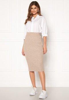 VILA Ril Knit HW Pencil Skirt Simply Taupe Bubbleroom.no