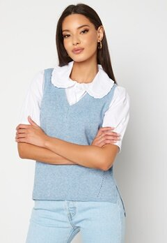 VILA Ril Knit Rib V-Neck Vest Ashley Blue bubbleroom.no