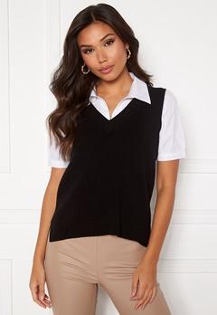 VILA Ril Knit Rib V-Neck Vest Black bubbleroom.no