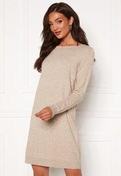VILA Ril L/S Knit Dress Natural Melange Bubbleroom.no