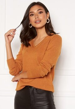 VILA Ril L/S V-neck Knit Top Pumpkin SpiceMelange Bubbleroom.no