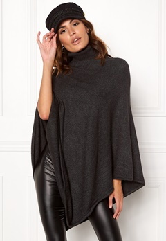 VILA Ril Rollneck Knit Poncho Dark Grey Melange Bubbleroom.no