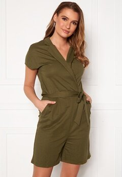 VILA Safina S/S Playsuit Dark Olive Bubbleroom.no
