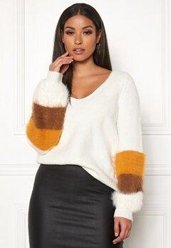 VILA Samar Knit V-Neck L/S Top Whisper White Bubbleroom.no