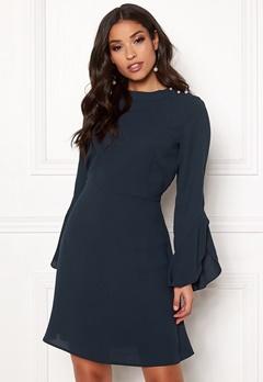 VILA Sarina L/S Pearl Dress Navy Blazer Bubbleroom.no