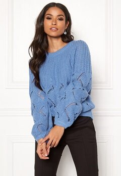 VILA Satira Knit O-Neck Top Ultramarine Bubbleroom.no