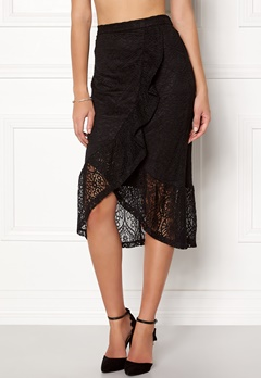 VILA Sepra Flounce Lace Skirt Black Bubbleroom.no