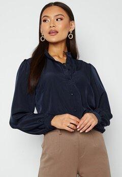 VILA Simple L/S Button Shirt Navy Blazer Bubbleroom.no
