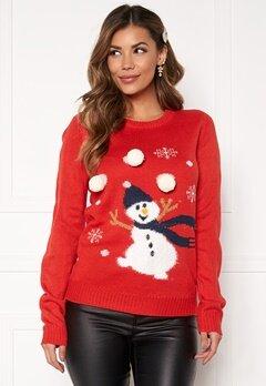 VILA Snowman L/S Knit Top Racing red Bubbleroom.no
