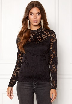 VILA Stasia L/S Top Black Bubbleroom.no