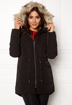 VILA Stormy Down Coat Black Bubbleroom.no