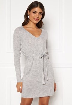 VILA Suril L/S V-Neck Short Knit Dress Light Grey Melange Bubbleroom.no