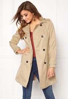 VILA Three Long Trenchcoat Soft Camel Bubbleroom.no