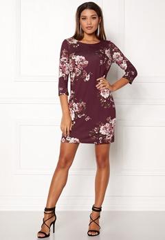 VILA Tinny 3/4 Print Dress Fig Bubbleroom.no
