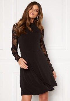 VILA Tryks Lace Detail L/S Dress Black Bubbleroom.no
