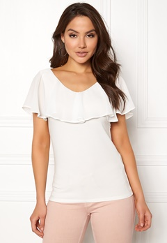 VILA Tulle S/L Chiffon Top Cloud Dancer Bubbleroom.no