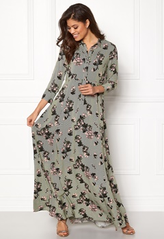 VILA Valene 3/4 Sleeve Maxi Dress Chive Bubbleroom.no