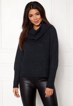 VILA Viview Cowlneck Knit Top Dark Navy Bubbleroom.no