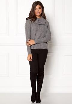 VILA Viview Cowlneck Knit Top Medium Grey Melange Bubbleroom.no