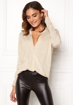 VILA Wendis Wrap Knit Top Natural Melange Bubbleroom.no