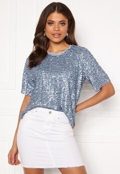 VILA Zamara S/S Top/DC Ashley Blue Bubbleroom.no