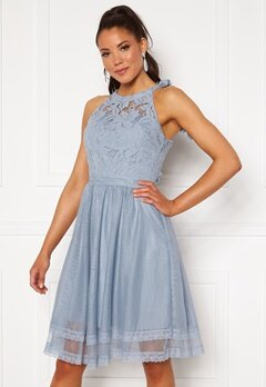 VILA Zinna New S/L Dress Ashley Blue Bubbleroom.no