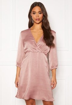 VILA Zippa 3/4 Wrap Dress Pale Mauve Bubbleroom.no